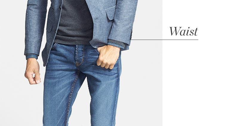 How to measure the waist for men's jeans.
