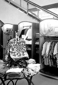 Interior of menswear department, 1960s