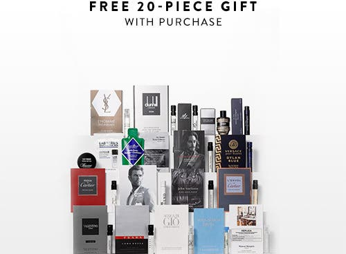 Free 20-piece gift with $85 grooming or cologne purchase.