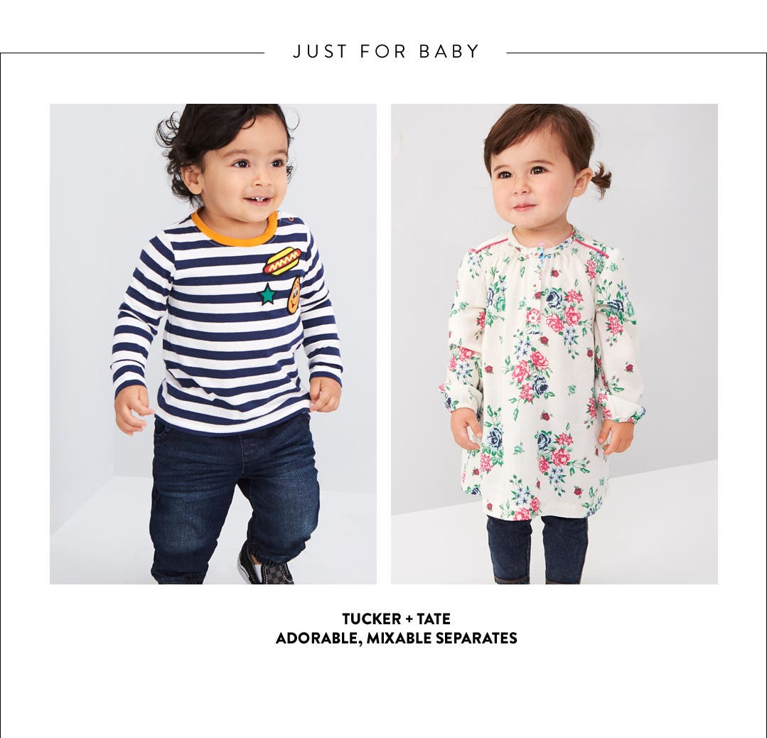 Just for baby: mixable baby separates from Tucker + Tate and more.