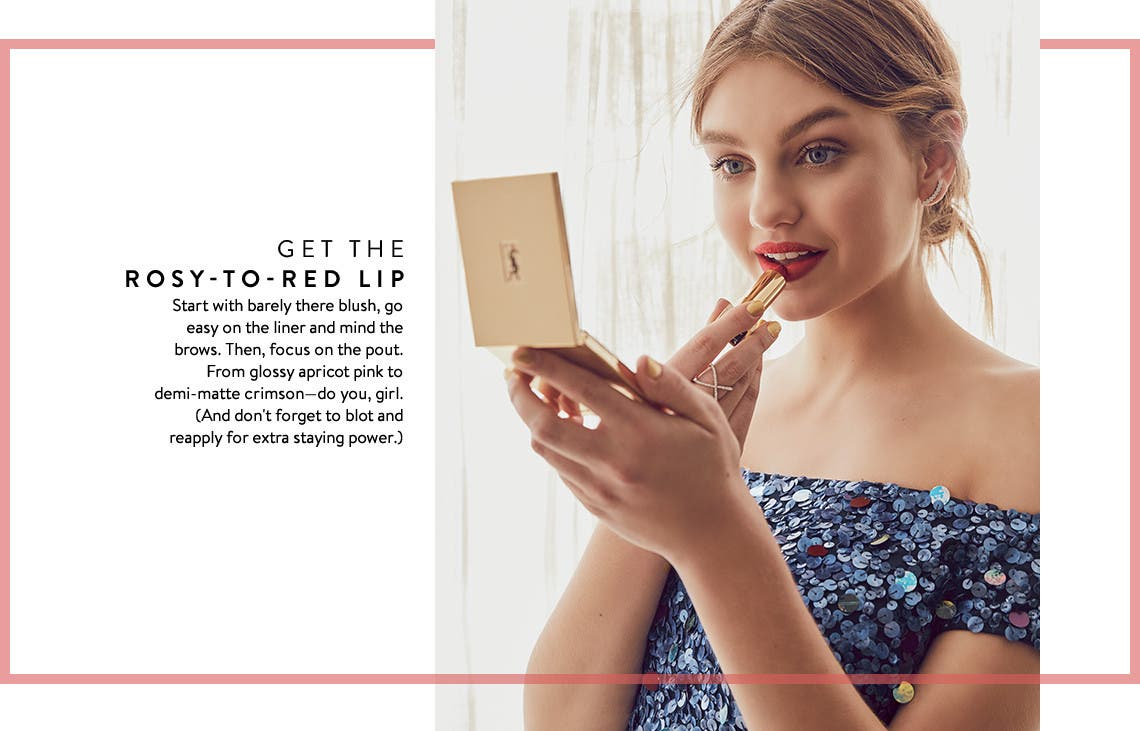 Get the rosy-to-red lip. Prom makeup tutorials.