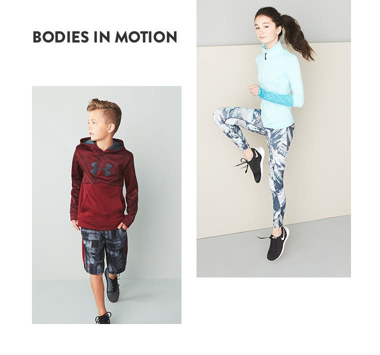 Bodies in motion. Kids' activewear.