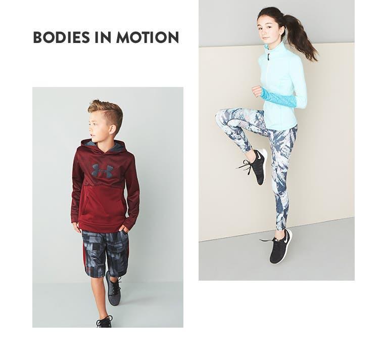Bodies in motion. Kids' activewear.