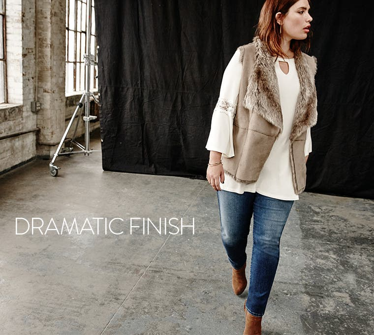 Plus-size layers that make a dramatic finish.