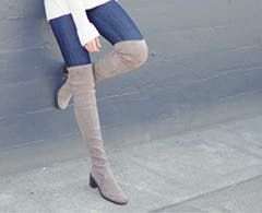 Stylist selects video on over-the-knee boots for women.