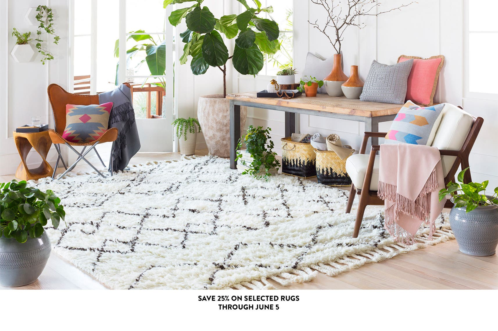 Save 25% on selected rugs through June 5th.