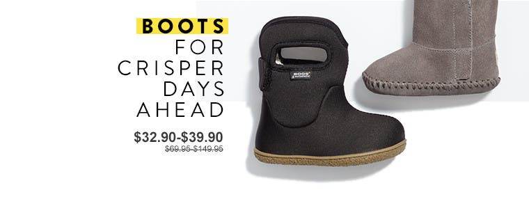 Boots for crisper days ahead. Anniversary Sale kids' and baby shoes.