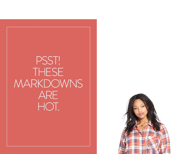 Psst! These plus-size women's clothing markdowns are hot.