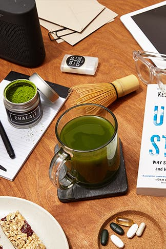Chalait Matcha Tea, Supplements and other goop products to help you through busy weeks.