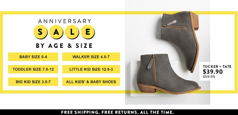Anniversary Sale. Shop kids' and baby shoes by age and size.