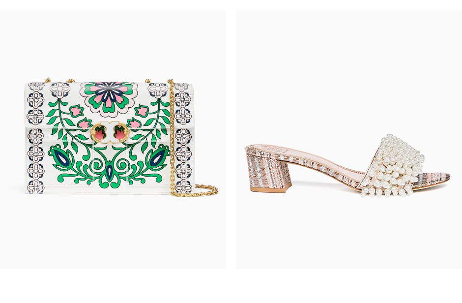 Tory Burch handbags, wallets and shoes.