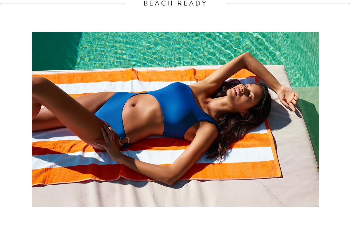 Beach ready: women's swimsuits, vacation essentials and men's swimwear.