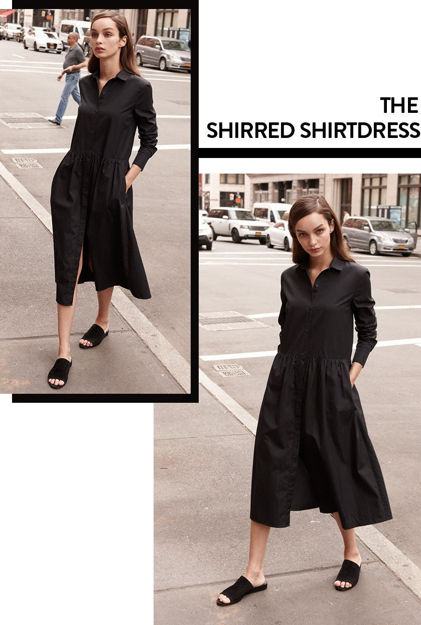 The Vince shirred shirtdress.