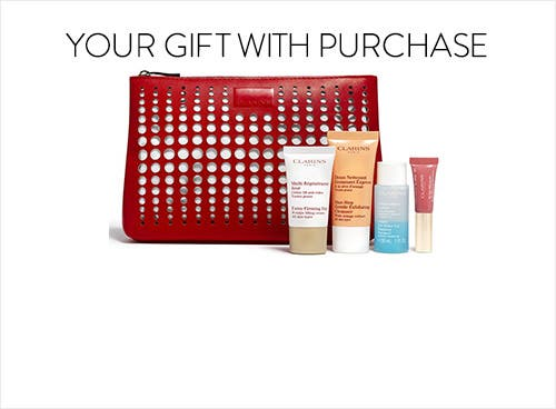 Receive a free 5- piece bonus gift with your $75 Clarins purchase