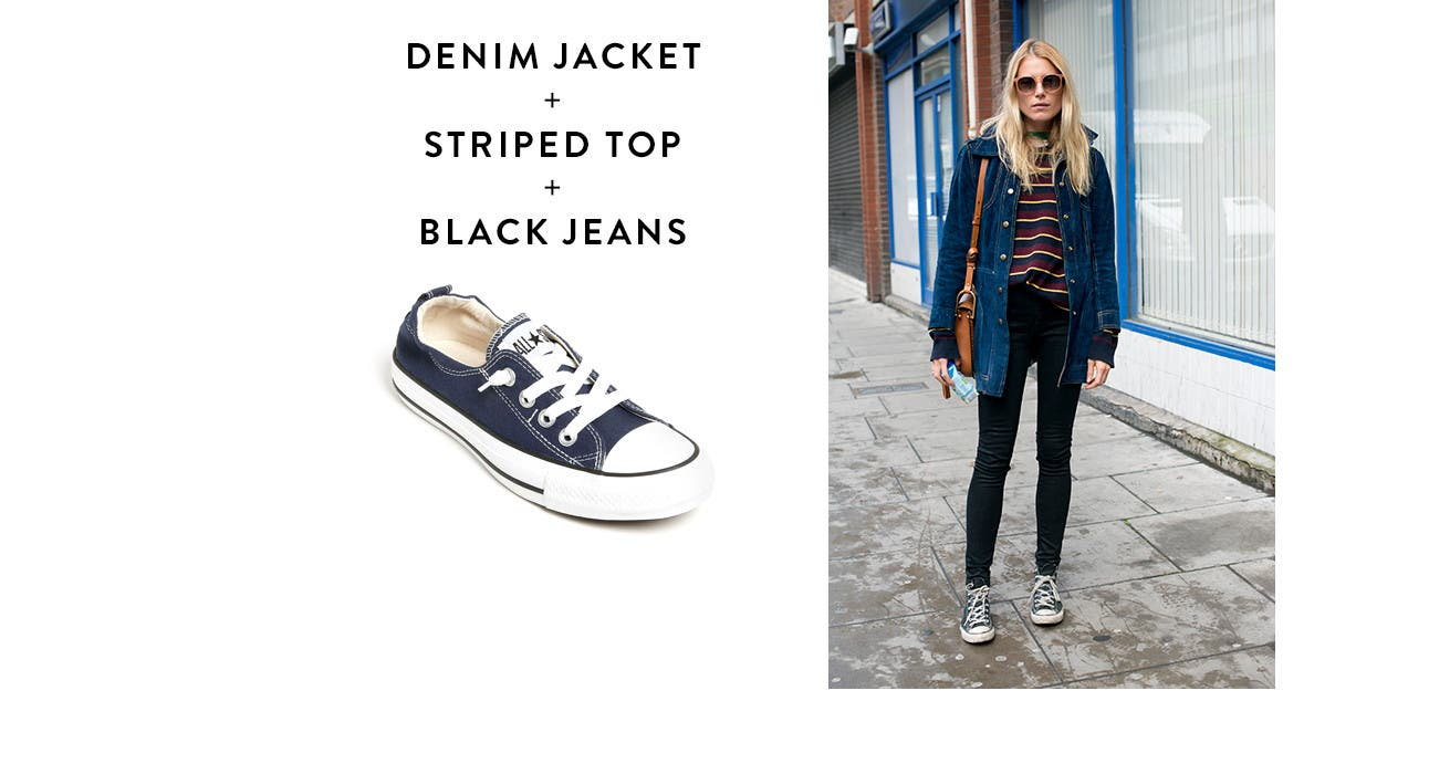 Denim Jacket + Striped Top + Black Jeans