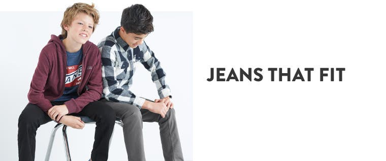 Jeans that fit: boys' jeans in skinny, slim and straight fits.
