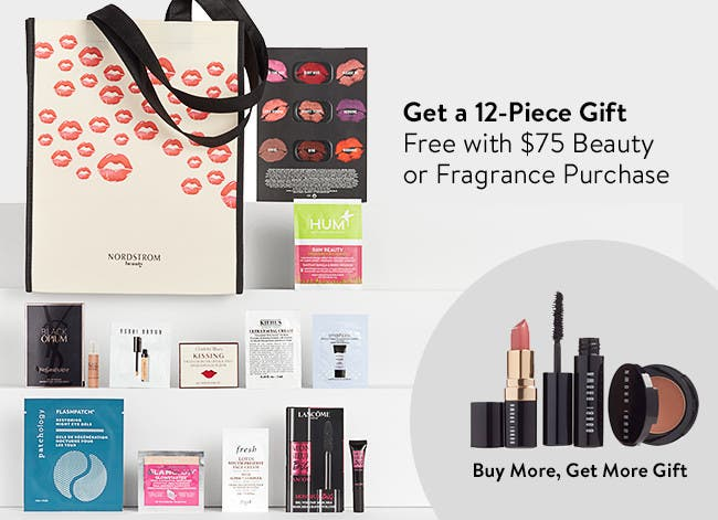 Free 12-piece gift with purchase. Buy more, get more.