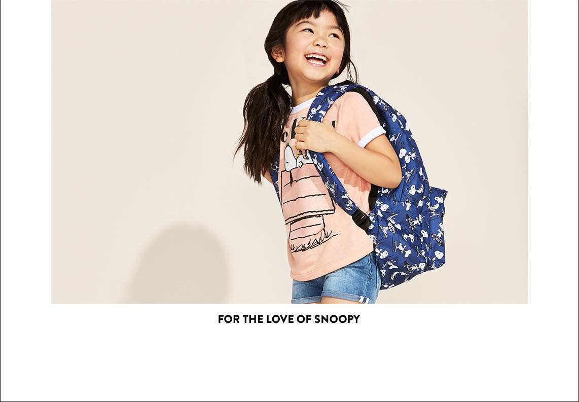 For the love of Snoopy. Kids' Peanuts-inspired clothing and accessories.