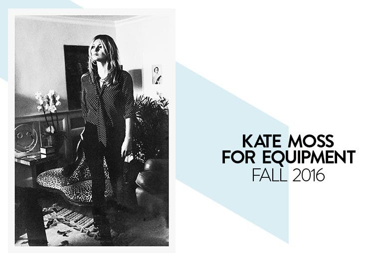 Kate Moss for Equipment Fall 2016 collection.