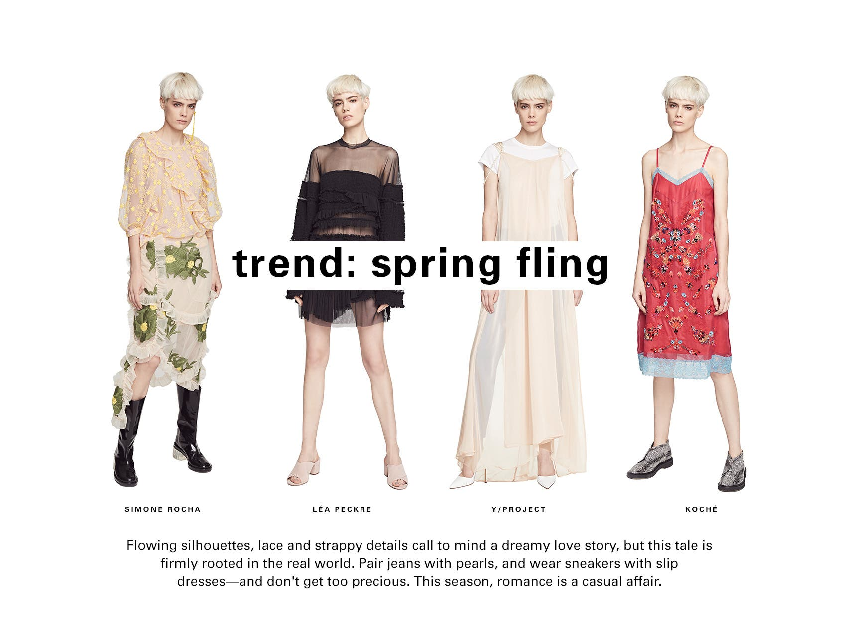 SPACE trend: spring fling. Romance returns for spring 2017 but with a rooted and sporty vibe. This time around, it's a casual affair.