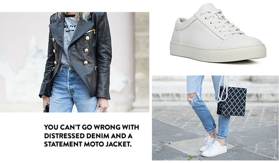 You can't go wrong with distressed denim and a statement moto jacket.