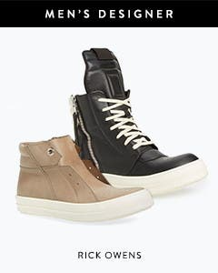 Men's designer collections: Rick Owens sneakers.