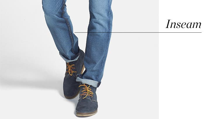 How to measure the inseam for men's jeans.