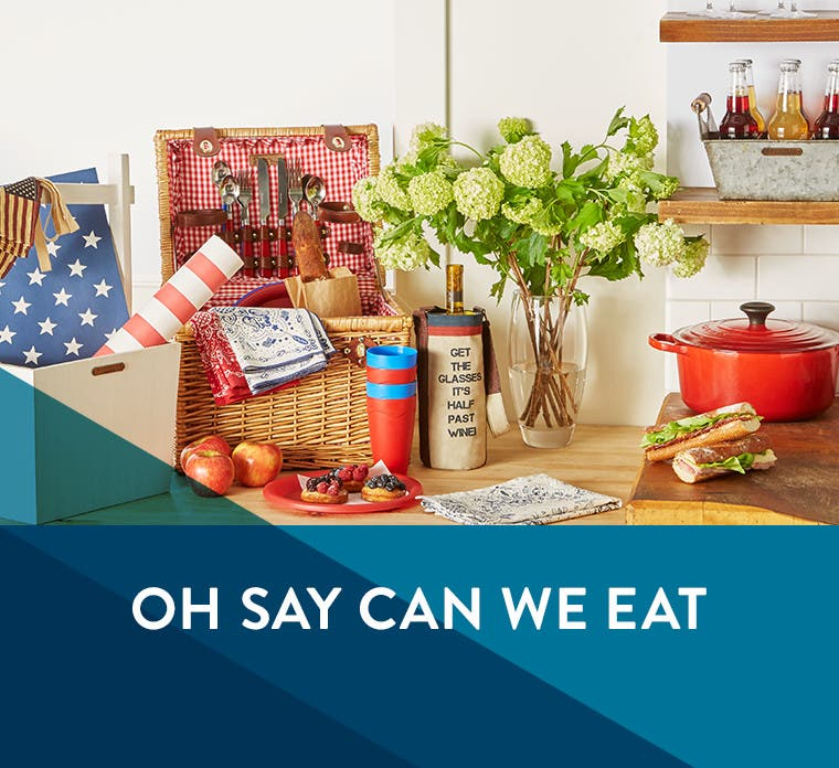 Oh say, can we eat: Americana kitchen and home products.