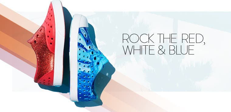 Rock the red, white and blue with kids' shoes.