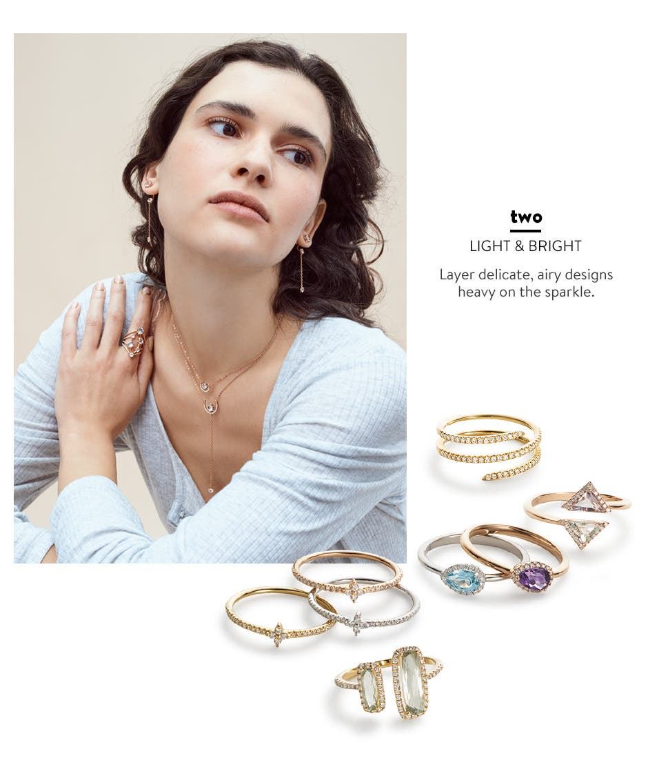 Light and bright jewelry in delicate, airy designs.