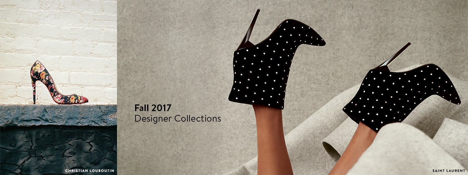 Fall 2017 designer collections for women, including shoes from Christian Louboutin and Saint Laurent.