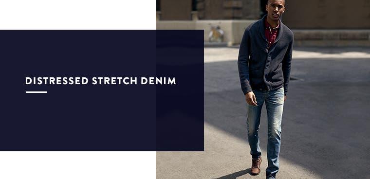 Men's distressed stretch denim.