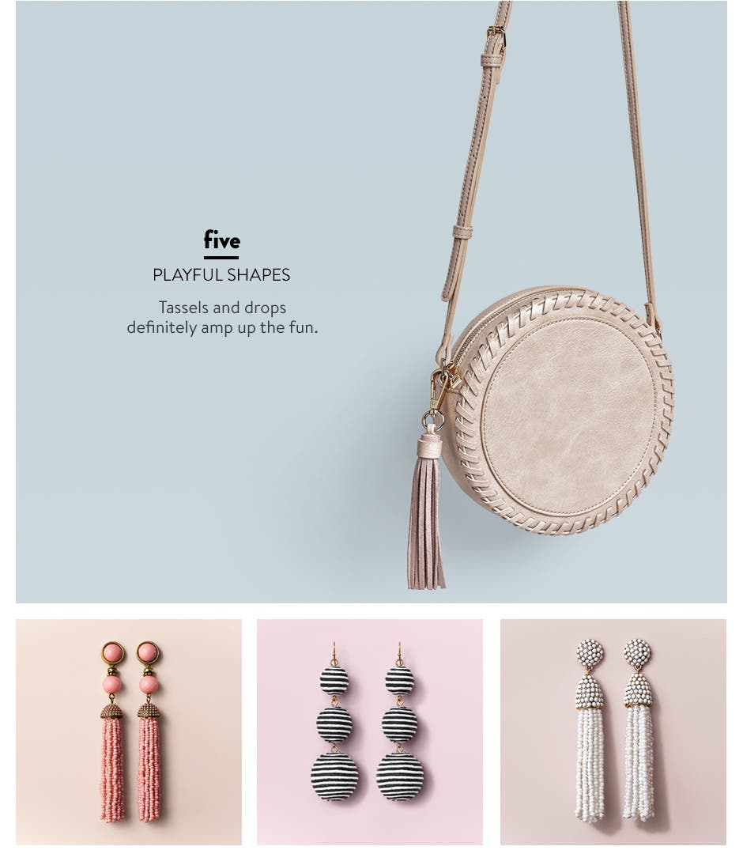 Playful shapes: handbags and earrings.