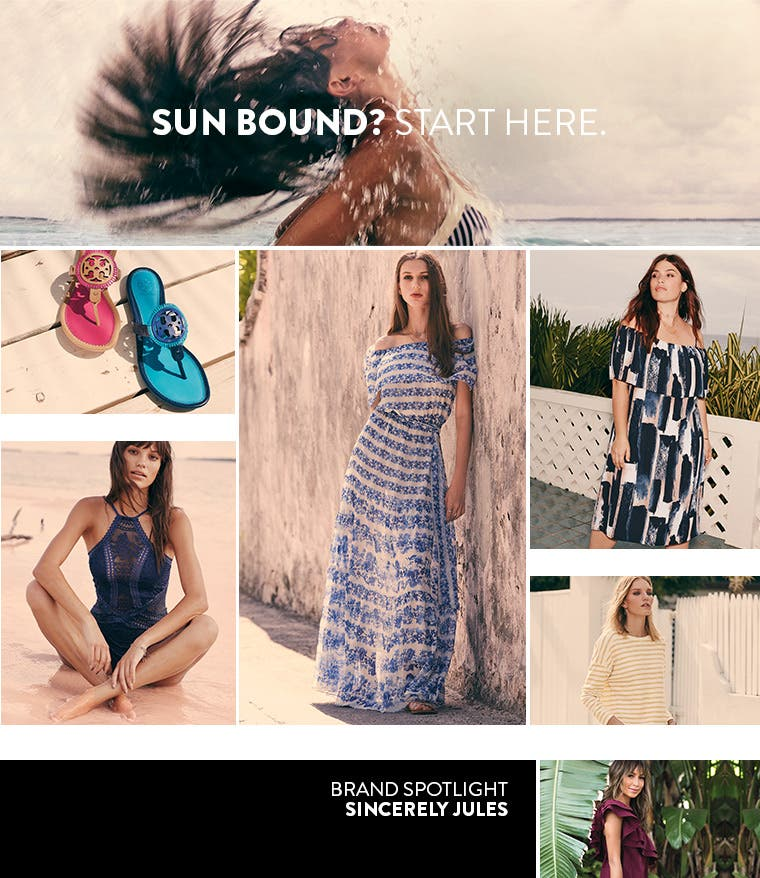 Sun bound? Start here for women's vacation clothing, swimsuits and shoes.