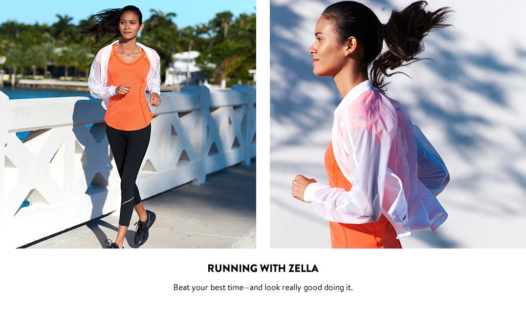 Running with Zella; women's running clothes and shoes.