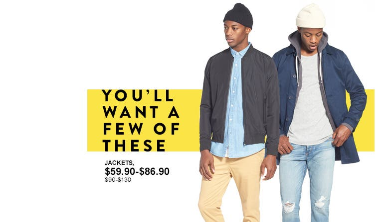 You'll want a few of these. Men's jackets from Topman.