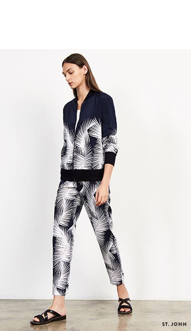 Designer new arrivals: St. John palm-print jacket and pants.