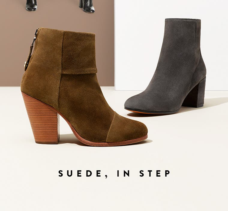 Suede boots and booties.