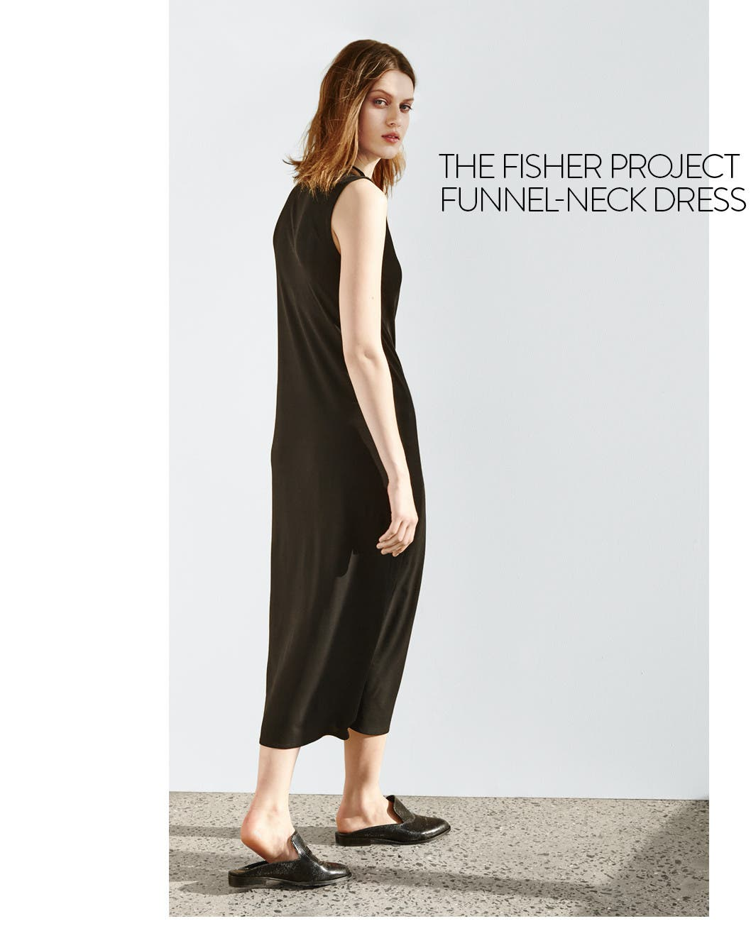 Eileen Fisher clothes for women: silk jersey midi dress.