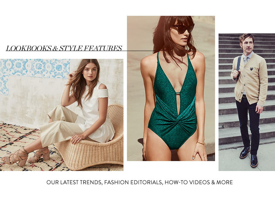 Lookbooks and style features for women and men.