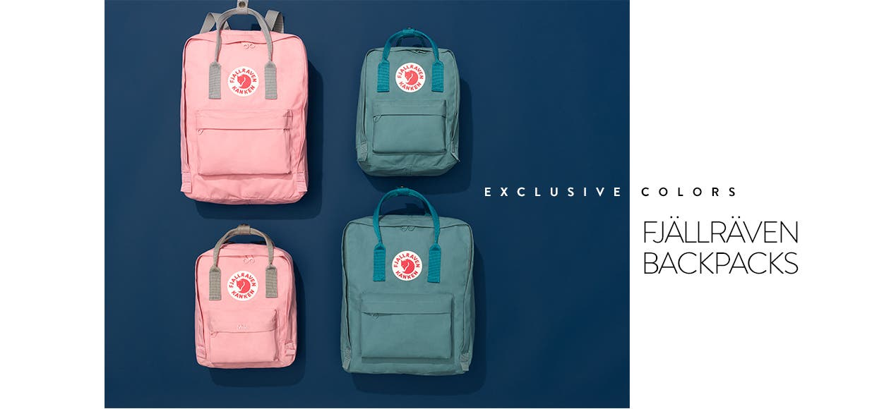 Fjällräven backpacks in exclusive colors.
