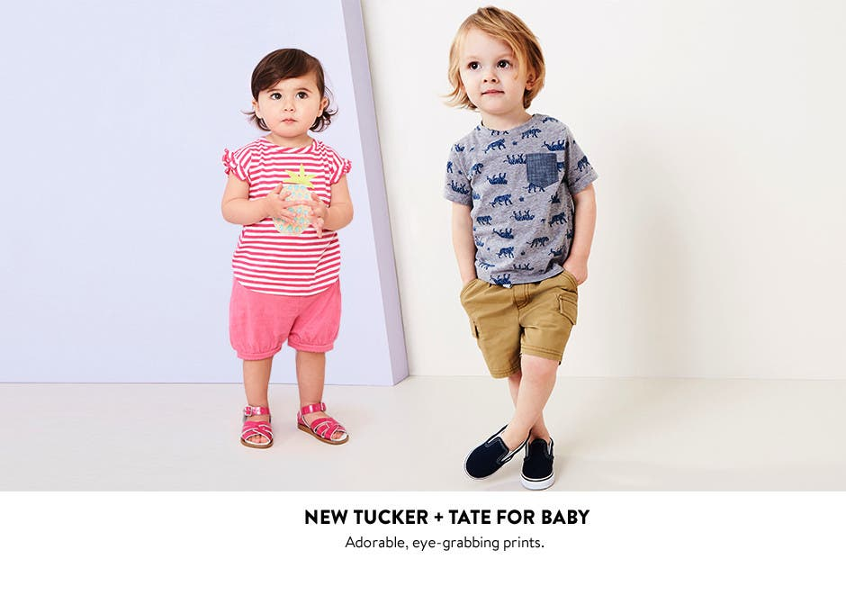 New Tucker + Tate for baby: adorable, eye-grabbing prints for baby girls and boys.