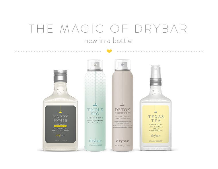 Drybar hairstyling products.