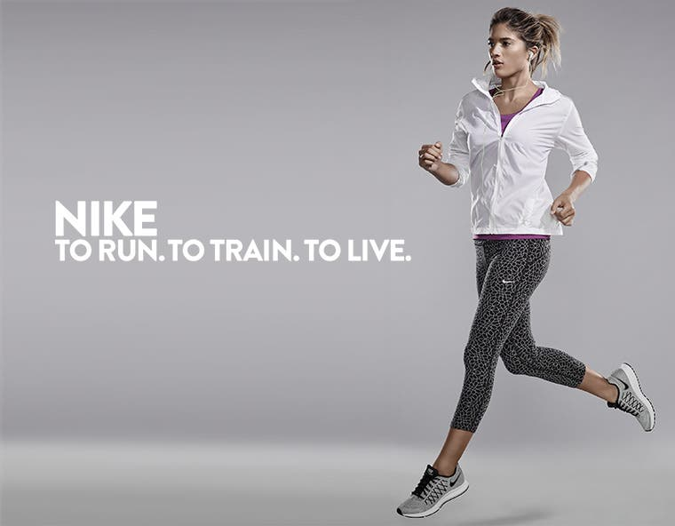 Nike: to run, to train, to live. Nike clothes and shoes for women.