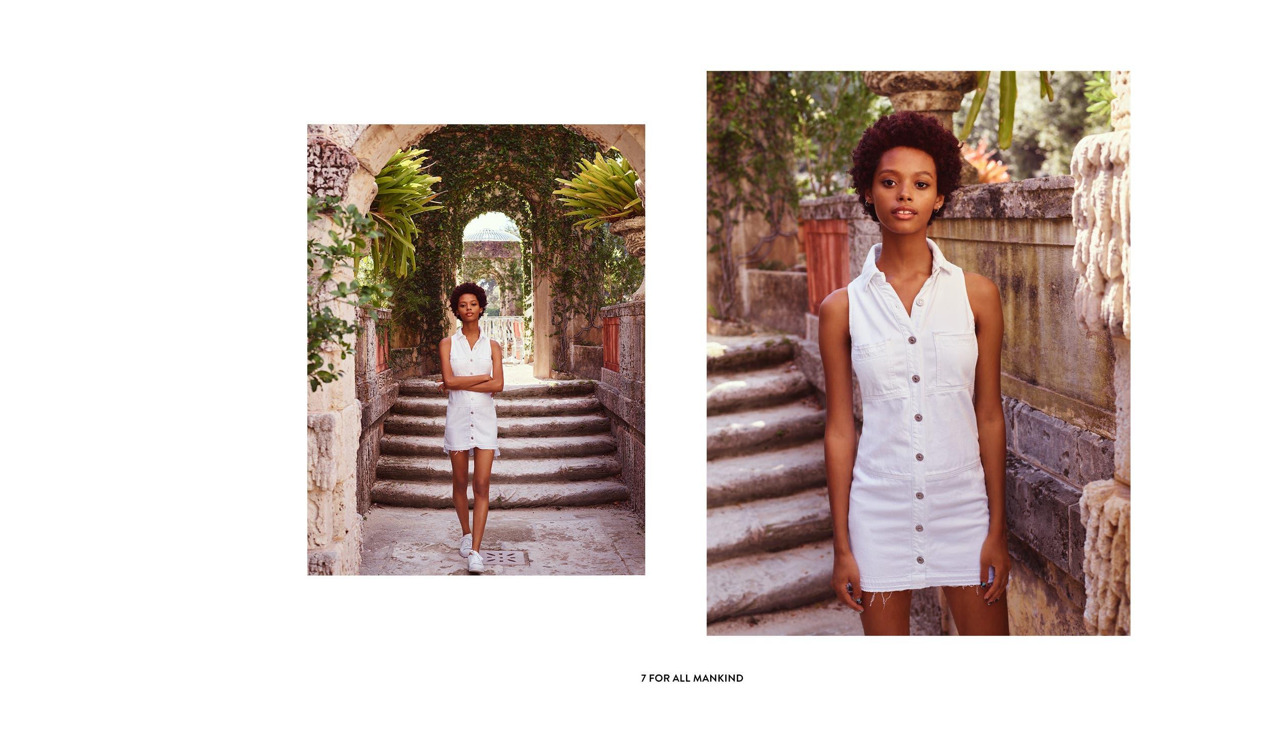 White denim dresses from 7 For All Mankind.