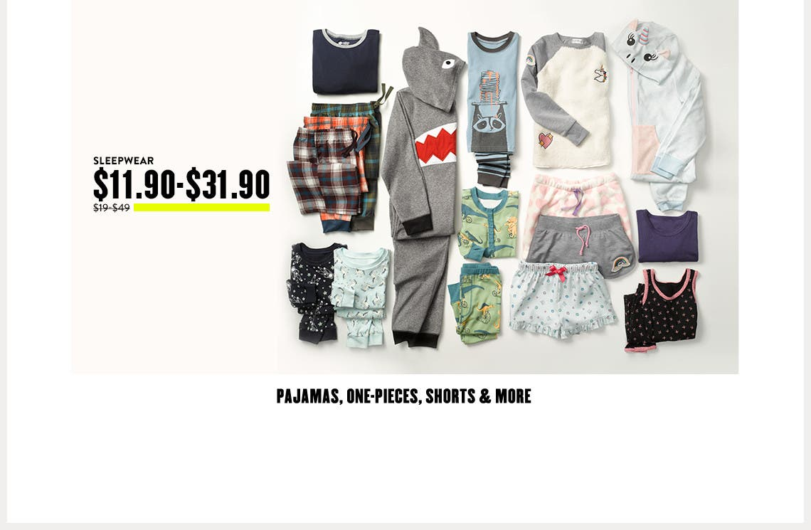 Kids' pajamas, one-pieces, shorts and more sleepwear at Anniversary Sale.