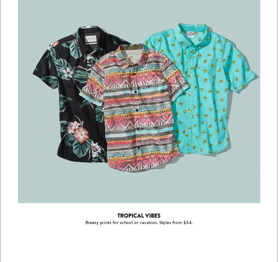 Tropical vibes. Boys' button-down shirts in breezy prints.