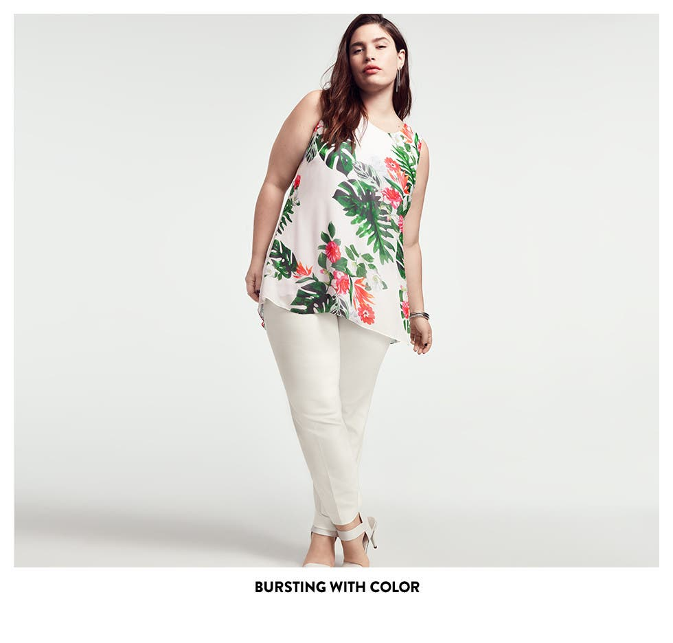 Plus-size clothing bursting with color.
