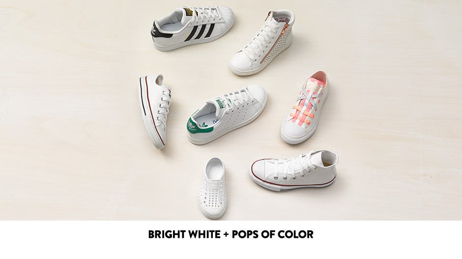 Bright white and pops of color in kids' sneakers.