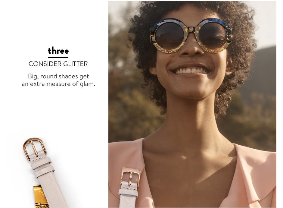 Consider glitter: glam sunglasses.